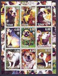 Touva 2001 Dogs (Bulldog) perf sheetlet containing complete set of 9 values, each with Scout logo unmounted mint