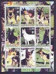 Udmurtia Republic 2001 Dogs (German Shepherd) perf sheetlet containing complete set of 9 values, each with Scout logo unmounted mint