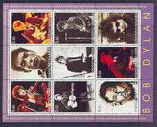 Kabardino-Balkaria Republic 2001 Bob Dylan perf sheetlet containing complete set of 9 values unmounted mint