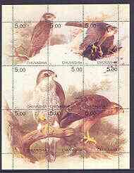 Chuvashia Republic 2001 Birds of Prey composite perf sheetlet containing complete set of 9 values unmounted mint