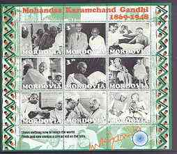 Mordovia Republic 2001 Gandhi perf sheetlet containing complete set of 9 values unmounted mint