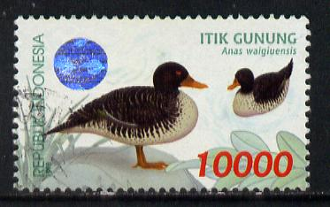 Indonesia 1998 Waterfowl (1st series) 10,000r Salvadori's Duck fine commercially used, SG 2446