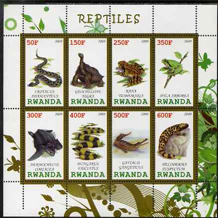 Rwanda 2009 Reptiles perf sheetlet containing 8 values unmounted mint