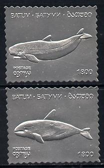 Batum 1994 Whales set of 2 in silver foil unmounted mint