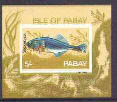 Pabay 1969 Fish 5s (Stickleback) imperf m/sheet with fine colour shift of black resulting in doubling of name and blurred background unmounted mint