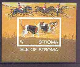 Stroma 1969 Dogs imperf m/sheet (5s value showing Foxhounds) with fine colour shift of black resulting in dropped imprint, and doubling of horses in background unmounted mint