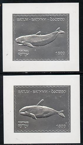 Batum 1994 Whales set of 2 s/sheets in silver unmounted mint