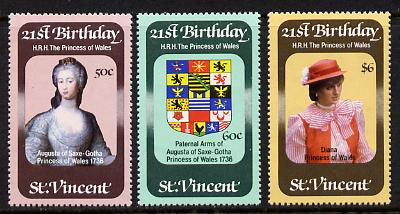 St Vincent 1982 Princess Di's 21st Birthday set of 3 unmounted mint SG 694-6