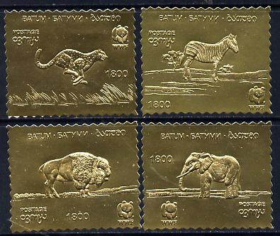 Batum 1994 WWF Animals set of 4 in gold foil unmounted mint
