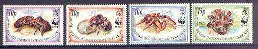 British Indian Ocean Territory 1993 Endangered Species set of 4 featuring Coconut Crab, unmounted mint SG 132-135