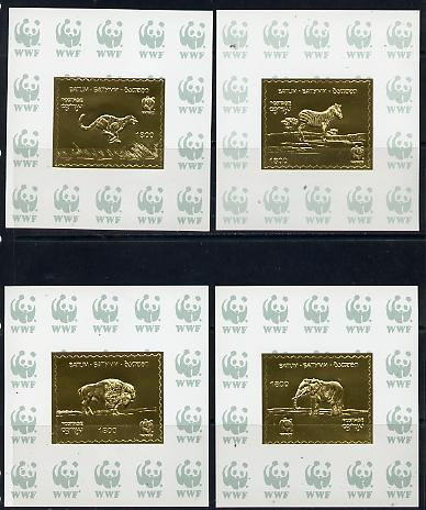 Batum 1994 WWF Animals set of 4 s/sheets in gold foil unmounted mint