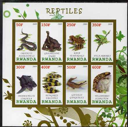 Rwanda 2009 Reptiles imperf sheetlet containing 8 values unmounted mint