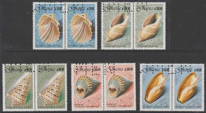 Ghana 1990 Seashells set of 5 each in horiz pairs with part perfin 'T.D.L.R. SPECIMEN' with photocopy of complete sheet showing full layout of the perfin. Note: blocks of 8 (4 pairs) would be required to show the full perfin legend. As SG 1417-21 (ex De La Rue archive sheets) unmounted mint