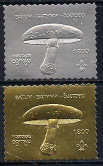 Batum 1994 Fungi set of 2 in silver & gold foils (showing Scout emblem)