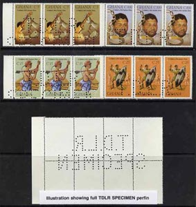Ghana 1987 Solidarity set of 4 each in strips of 3 with part perfin