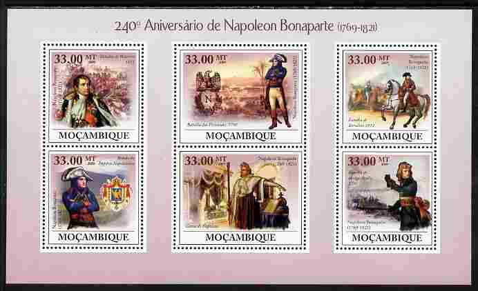 Mozambique 2009 240th Anniversary of Napoleon Bonaparte perf sheetlet containing 6 values unmounted mint