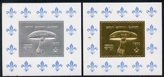 Batum 1994 Fungi set of 2 s/sheets in silver & gold foils (showing Scout emblem) unmounted mint