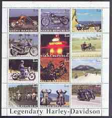 Sakha (Yakutia) Republic 2001 Harley Davidson Legendary Motorcycles perf sheet containing complete set of 12 values, unmounted mint, stamps on motorbikes