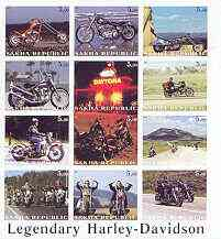 Sakha (Yakutia) Republic 2001 Harley Davidson Legendary Motorcycles imperf sheet containing complete set of 12 values, unmounted mint