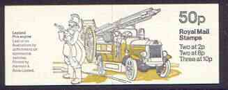Booklet - Great Britain 1979 Leyland Fire Engine 50p booklet complete, SG FB9, each with black count mark on cover (occurs every 25th booklet)