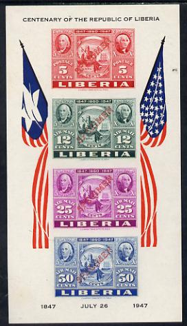 Liberia 1947 US Stamp Centenary imperf m/sheet each stamp opt