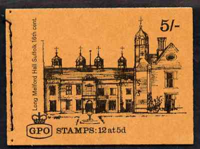 Booklet - Great Britain 1968-70 English Homes - Long Melford Hall 5s booklet (Apr 1969) complete and fine SG HP28