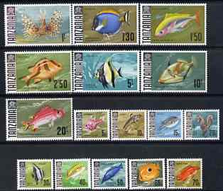 Tanzania 1967 Fish definitive set of 16 values complete unmounted mint, SG 142-57