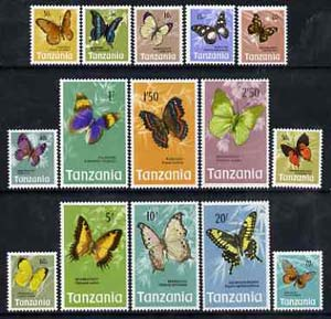 Tanzania 1973 Butterflies definitive set of 15 values complete unmounted mint, SG 158-72