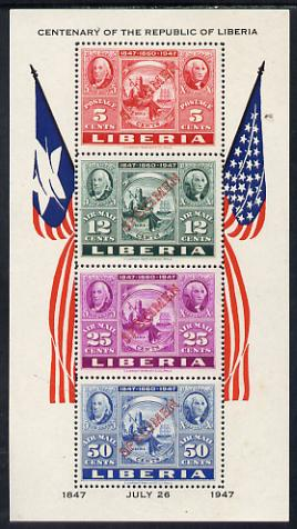 Liberia 1947 US Stamp Centenary perf m/sheet each stamp opt