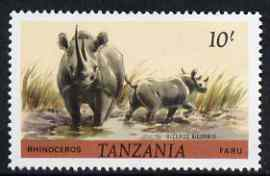 Tanzania 1980 Rhino 10s (from Animals def set) unmounted mint SG 318*