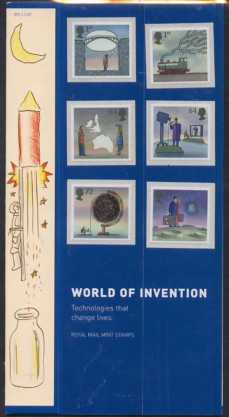 Great Britain 2007 World of Invention self adhesive perf set of 6 in official presentation pack unmounted mint, SG 2715-20