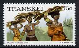 Transkei 1976-83 Carrying Wood 15c (perf 14) from def set unmounted mint SG 11a