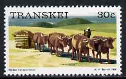 Transkei 1976-83 Sledge Transportation 30c (perf 14) from def set unmounted mint, SG 14a