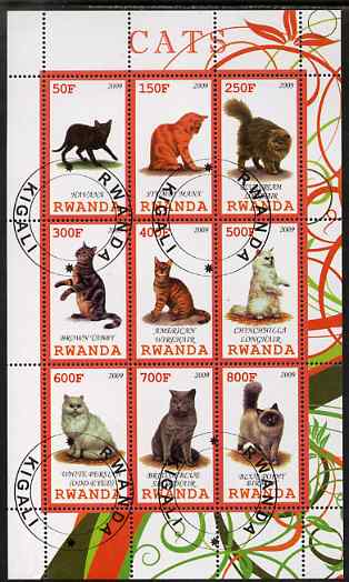 Rwanda 2009 Domestic Cats perf sheetlet containing 9 values fine cto used
