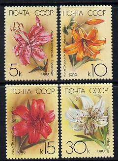 Russia 1989 Lilies perf set of 4 unmounted mint, SG 5977-80, Mi 5931-34