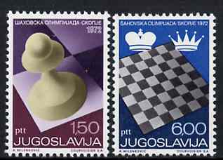 Yugoslavia 1972 20th Chess Olympiad set of 2 unmounted mint, SG 1529-30