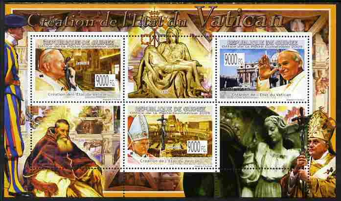 Guinea - Conakry 2009 Creation of the Vatican State perf sheetlet containing 3 values unmounted mint