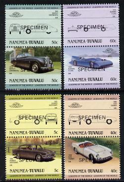 Tuvalu - Nanumea 1985 Cars #1 (Leaders of the World) set of 8 opt'd SPECIMEN unmounted mint