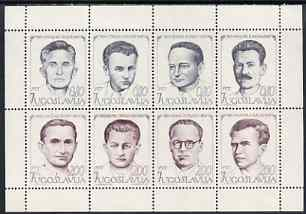 Yugoslavia 1973 National Heroes sheetlet containing complete set of 8 unmounted mint, SG 1576a