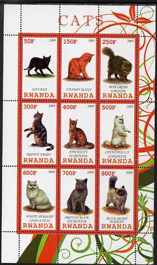Rwanda 2009 Domestic Cats perf sheetlet containing 9 values unmounted mint
