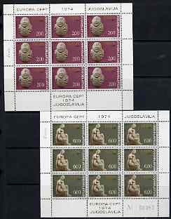 Yugoslavia 1974 Europa set of 2 each in sheetlets of 9 unmounted mint, SG 1603-04
