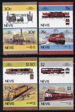 Nevis 1986 Locomotives #5 (Leaders of the World) set of 8 opt'd SPECIMEN (as SG 352-59) unmounted mint