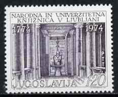 Yugoslavia 1974 National & University Library unmounted mint, SG 1623*, stamps on education, stamps on libraries, stamps on universities