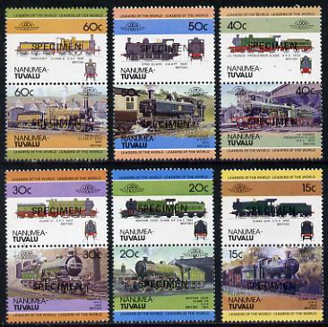 Tuvalu - Nanumea 1984 Locomotives #1 (Leaders of the World) set of 12 opt'd SPECIMEN unmounted mint