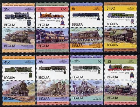 St Vincent - Bequia 1984 Locomotives #1 (Leaders of the World) set of 16 opt'd SPECIMEN unmounted mint