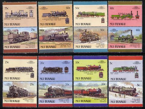 Tuvalu - Nui 1988 Locomotives #4 (Leaders of the World) set of 16 opt'd SPECIMEN unmounted mint