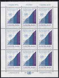 Yugoslavia 1983 UN Conference on Trade & Development sheetlet containing block of 9 unmounted mint, SG 2086
