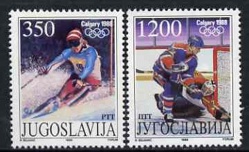 Yugoslavia 1988 Calgary Winter Olympics set of 2 unmounted mint, SG 2434-35
