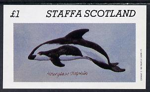 Staffa 1982 Dolphins imperf souvenir sheet (�1 value) unmounted mint