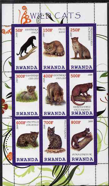 Rwanda 2009 Wild Cats perf sheetlet containing 9 values unmounted mint